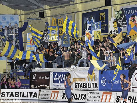 Kosice fans cheer on their team